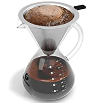 Large Pour Over Coffee Maker by Coffee Gator. For perfect hand drip coffee with glass carafe