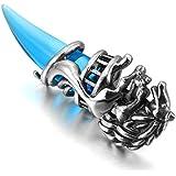 MunkiMix Acier Inoxydable Pendentif Collier Cristal Argent Bleu Loup Dent Tribal Homme ,58cm chaîne