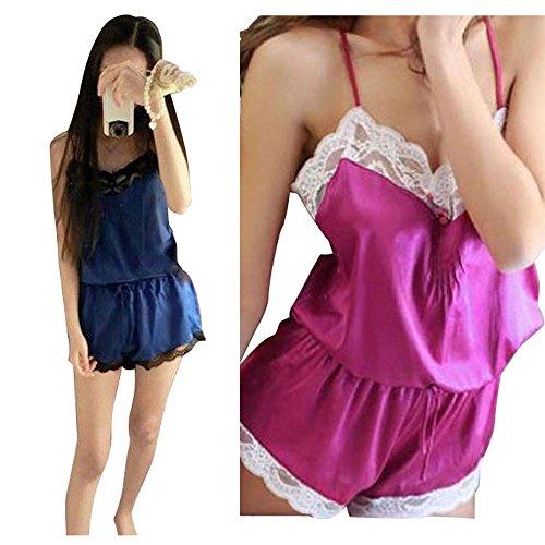 Ukamshop 1PC Sexy Frauen Cross Strap Spitze Jumpsuit Pyjama Nachthemd Dessous