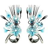 Flourish 794279 32 cm Pair of Matching Mini Swirl Artificial Flowers in Vase, Teal/Blue