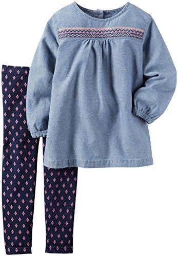 Carter's Baby Girls 2 Pc Playwear Sets, Denim, 18M