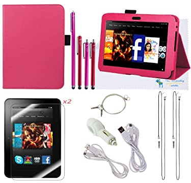 The Friendly Swede (TM) PU Leather Case Cover Bundle for Kindle Fire HD 7 Inch in Retail Packaging (NOT Compatible With Kindle Fire HD 7 2013 Release) (Pink)