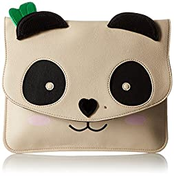 Betsey Johnson Cray Creatures Panda Clutch, White, One Size