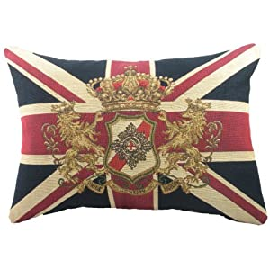 Evans Lichfield Union Jack Traditional Lion Crest Tapestry (Filled) Cushion, 18