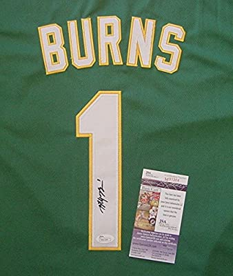Billy Burns Oakland Athletics Autographed Signed Green #1 Jersey JSA COA