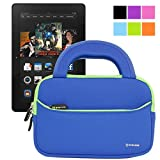 Evecase Ultra Portable Carrying Neoprene Sleeve Case Bag for 7'' Amazon Tablet: All-New Fire HD 7 2014 / Kindle Fire HDX 7'' / Fire HD Kids Edition Tablet/ Kindle Fire HD 7 inch Tablet and More (Blue)