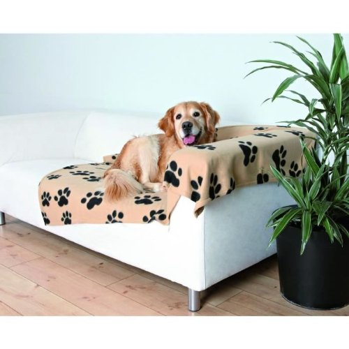 Trixie-37181-Fleecedecke-Barney150x100-cm-beige-mit-schwarzen-Pfoten