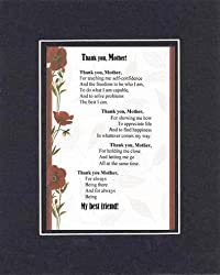 Touching and Heartfelt Poem for Mothers - Thank You, Mother Poem on 11 x 14 inches Double Beveled Matting (Black on Black)