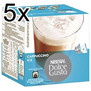 Get Nescafé Dolce Gusto Cappuccino Ice, Pack of 5, 5 x 16 Capsules (40 Servings) by Nestlé