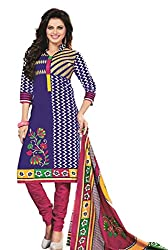 Dipak Women's Cotton Unstitched Dress Material (4001_Blue)
