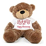 Brown 5 feet Big Teddy Bear wearing a Happy Anniversary T-shirt