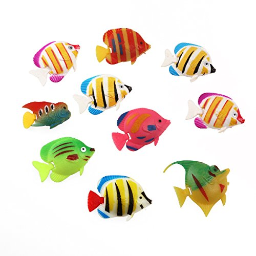 Tinksky 10pcs Plastic Artificial Moving Floating Fishes Ornament Decorations for Aquarium Fish Tank (Random Color Pattern) (Moving Fish compare prices)