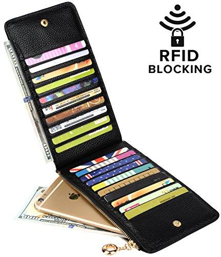 Yaluxe Femme Portefeuille Porte-Cartes Zippé Cuir Véritable Doux Organisateur des Cartes Noir(Blocage RFID)