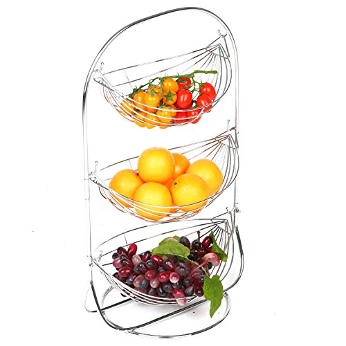 MyGift Triple Hammock Fruit Basket with Handle, 3 Tier Kitchen Produce Rack, Silver-Tone Metal (Fruit Ripener compare prices)