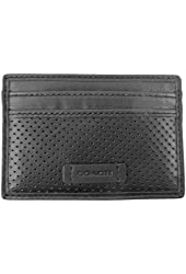 Coach Perforated Leather Card Case, Black F74894