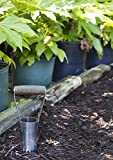 Joseph Bentley Traditional Garden Tools Stainless Steel Short-Handled Bulb Planter - Engraved 4-Inch Scale for Depth Measurements - For Soft and Hard Soil - Solid Oak Handle - Long Lasting Durability