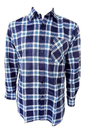 Mens Brushed Cotton Lumberjack Flannel Work Long-Sleeved Check Shirts