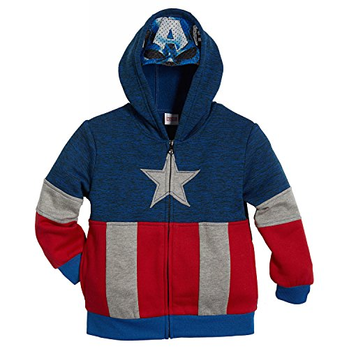 Superhero Little Boys' Zip-Up Fleece Hoodie With Mesh Mask, 4T, Captain America (Jacket Captain America compare prices)