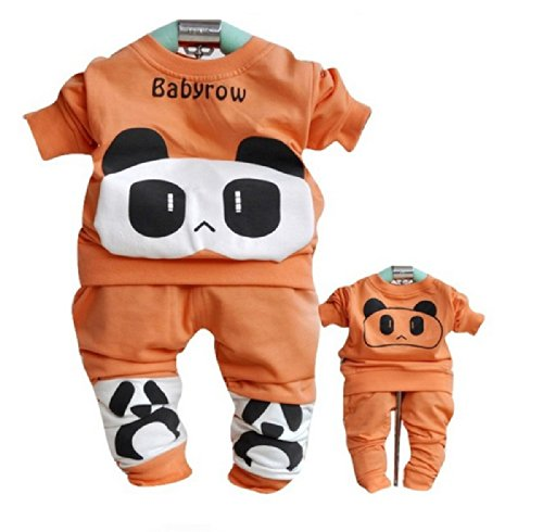 Sopo Cute Baby Girl Outfits 2 Pcs Sets (Bear Tshirt, Pants) Orange 18M front-1043020