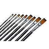 Ogori 9 pcs Nylon Hair Paint Brush Set Artist Watercolor Acrylic Oil Painting Supplies