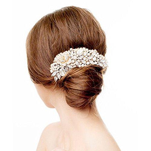 Bridalvenus Wedding Hair Combs Moon Shaped for Women and Girls, Bridal Hair Accessories Combs