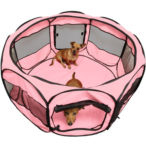 "OxGord® 48"" Pet Cage Pop up Playpen Cat / Dog Exercise Kennel Crate ""Travel Gear Approved"" Portable Tent Fence - 2015 Newly Designed, Pink"