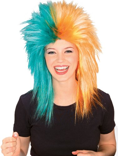 Rubie's Costume Teal and Orange Sports Fan Wig, Teal/Orange, One Size