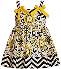 Little Girls Yellow Bow Shoulder Chevron Stripe and Floral Print Dress