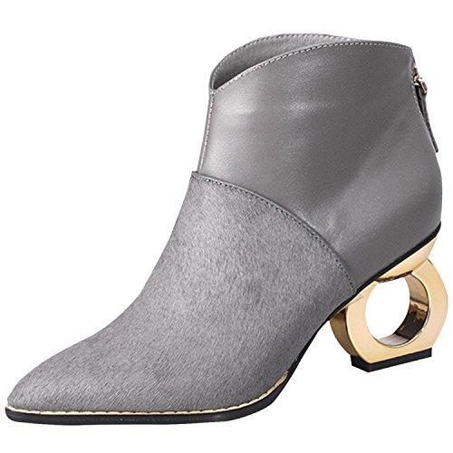 Oasap Femme Mode Bout Pointue Boots Cheville Automne Zippé Talons Bloc