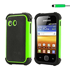32nd Shock proof defender tough dual case cover for Samsung Galaxy Y S5360 + screen protector, cleaning cloth and touch stylus - Green