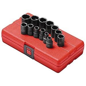 Sunex 3675 3/8-Inch Drive Standard Metric 12 Point Impact Socket Set, 13-Piece