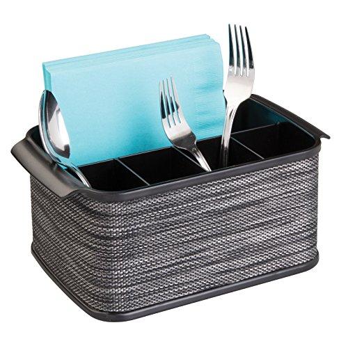 mDesign Silverware, Flatware Caddy Organizer for Kitchen Countertop Storage, Dining Table - Black (Countertop Silverware Caddy compare prices)