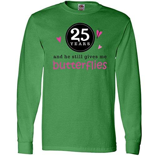Inktastic 25 Year Anniversary Saying Long Sleeve T-Shirts X-Large Kelly Green