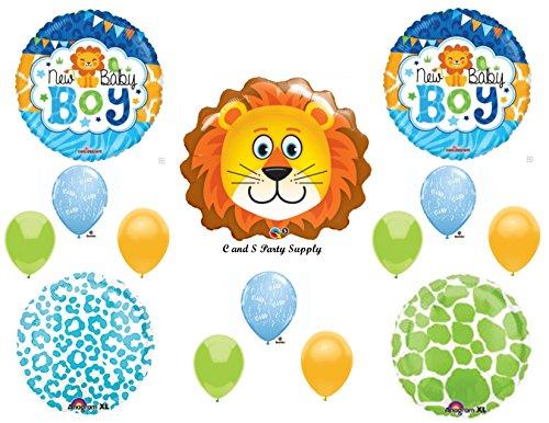 Baby Boy Lion Shower Balloons Decorations Supplies Jungle Safari Giraffe front-905300