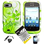 4 items Combo: ITUFFY (TM) LCD Screen Protector Film + Mini Stylus Pen + Case Opener + Design Rubberized Snap on Hard Shell Cover Faceplate Skin Phone Case for ZTE Fury N850, ZTE Director N850L, and ZTE Valet Z665C, Android Smartphone (Green Vine)