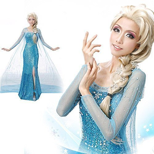 Frozen Snow Queen Elsa Adult Gem Jewel Costume Cosplay Dress with Gloves Size M