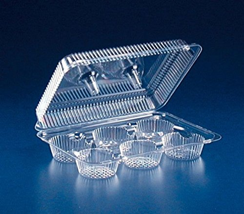 Inline 6-Cup Large Compartment Clear Plastic Muffin Cupcake Bakery Container (Pack of 20)