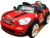 NEW DESIGN KIDS RIDE ON 12V TWIN MOTORS RED MINI COOPER STYLE RECHARGEABLE ELECTRIC CAR + parental remote control + soft leather seat + battery capacity indicator + mp3 input + music volume control. (RED-MINICOOPER)