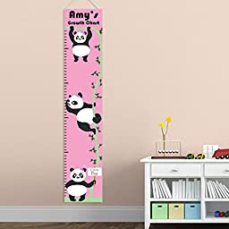 Personalized Panda Girl Growth Chart - Personalized Height Charts for Girls