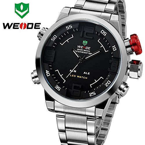 Weide Relogio Multi-Function Military Watch For Men'S Quartz Fashion Casual Watches Men Full Steel Led Display Wristwatches (Black Dial)