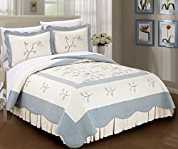 BNF Home Classic Embroidered Blue Spring Flowers 100% Cotton Bedspread Quilt Blanket 3 Pieces Bed Set (King)