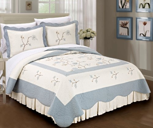 Serenta Classic Embroidered Blue Spring Flowers 100% Cotton Bedspread Quilt Blanket 3 Pieces Bed Set(King) (Eiderdown Quilt compare prices)