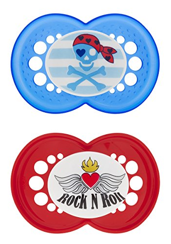 MAM Rock 'N Roll Silicone Pacifier, Blue, 6+ Months, 2-Count