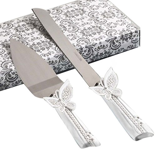 2 PCS Butterfly Style Stainless Steel Wedding Rhinestone Cake Knife Cutter Server Set for Wedding Anniversary with Box