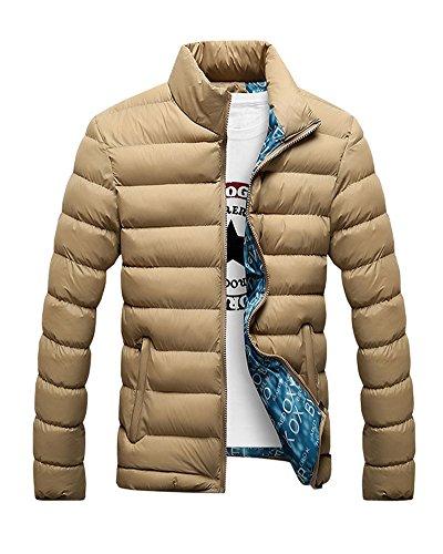 LaoZan Maniche lunghe cappotto con Cerniera inverno giacca casuale - Uomo 3XL Khaki
