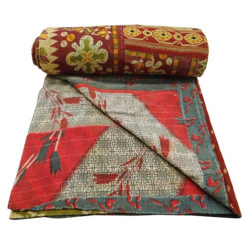 Decoración del hogar de la impresión floral del edredón Vintage Twin Size Verde Reversible Colcha Kantha Stitch Cotton Gudri