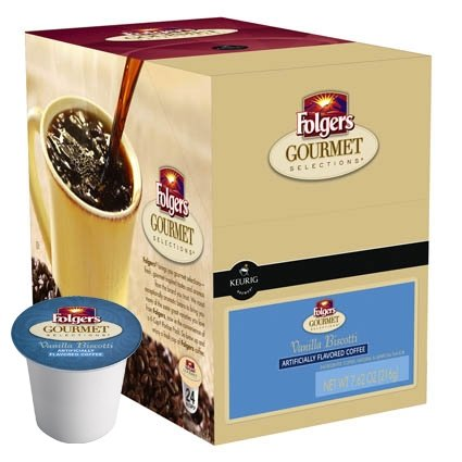 Folgers Gourmet Selections Vanilla Biscotti Coffee K-Cups (1 Box of 24 K-Cups)
