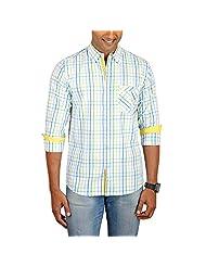 Sleek Line Men's Banded Collar Cotton Shirt - B00TRU2YNK
