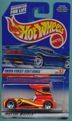 Mattel Hot Wheels 1999 First Editions 1:64 Scale Red Semi-Fast Die Cast Car #008 - 1