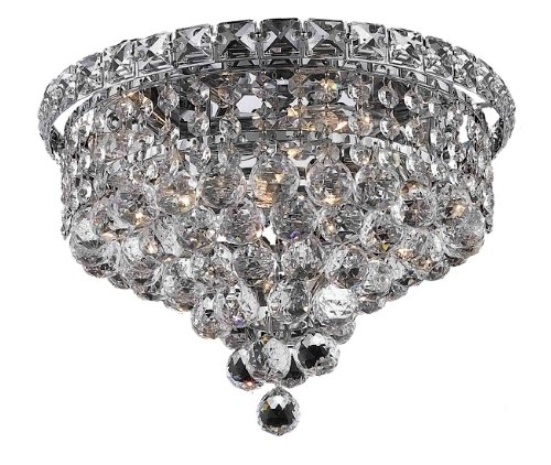 Elegant Lighting 2527F12C/RC Tranquil 9-Inch High 4-Light Flush Mount, Chrome Finish with Crystal (Clear) Royal Cut RC Crystal